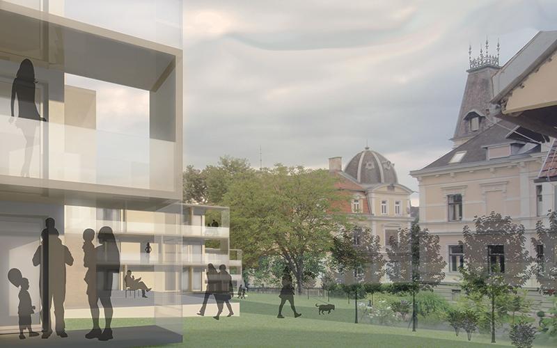 Wohnbau Pflegergründe: Ansicht Hauptplatz © Bramberger [architects]